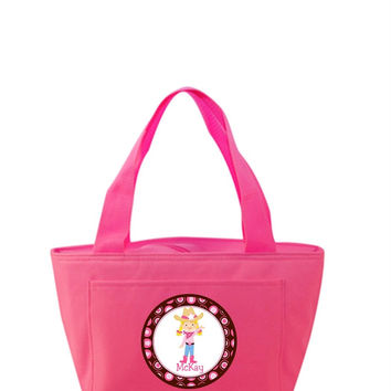Blonde Cowgirl on Personalized Hot Pink Lunch Tote Bag