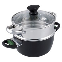 GreenPan Rio 3 Piece Aluminum Healthy Steaming Plus - Black