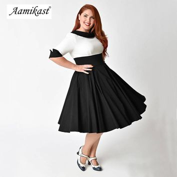 Aamikast Women Sexy Sailor Collar 50s Party A-line Dress Vintage Stretchy Midi Plus Size 4XL 5XL 6XL Cocktail Swing Dress