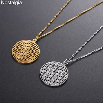 Nostalgia Stainless Steel Flower Of Life Necklace Gold Jewelery Supernatural Sacred Geometry Men Neckless Women Egyptian Jewelry