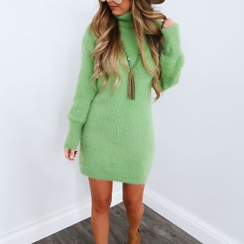 Sweater Weather Dress: Seafoam