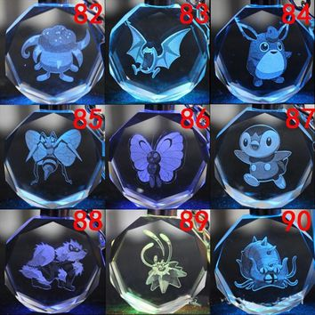 New 144pcs/sets Game  Keychain Cartoon LED Pocket Monster Pikachu Keyrings Toy Dolls Key Chain Christmas GiftKawaii Pokemon go  AT_89_9