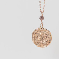 Athena's owl bronzed pendant necklace, rose gold necklace