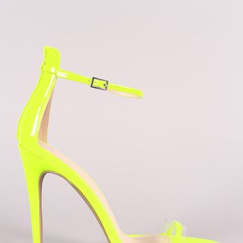 Qupid Patent Clear Band Ankle Strap Stiletto Heel