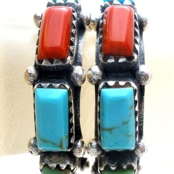 Multi Gemstone Hoop 925 Earrings Vintage