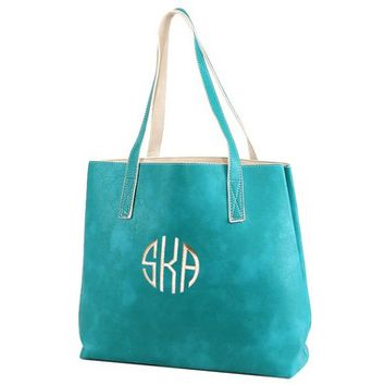 Madeline Smooth Tote - Turquoise