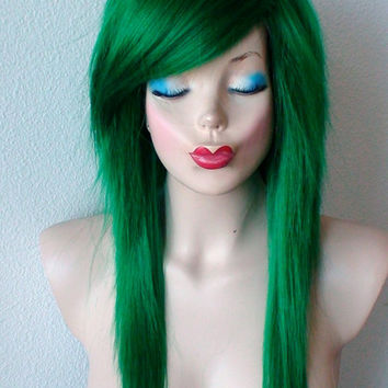 Scene wig. Green Ombré wig. Emo wig. Irish green hair wig. Durable Heat resistant black hair wig for daily use or cosplay