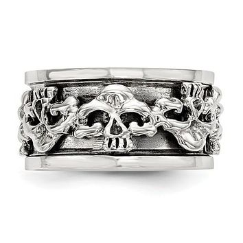 Sterling Silver 11.2mm Spinning Center Antiqued Skull Ring