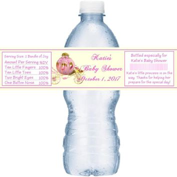 21 Princess Baby Shower Water Bottle Labels Carriage