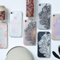 From Jenny Soft Tpu Transparent Mandala Lace Flower Case For iPhone 7 6 6S Plus Phone Cover Back For iPhone 6 7 6S Vintage Case