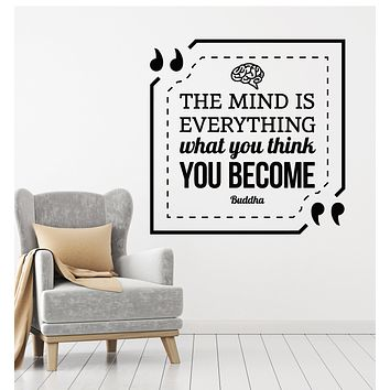 Vinyl Wall Decal Mind Is Everything Buddha Quote Inspirational Stickers Mural (g729)