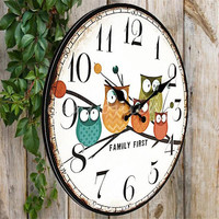 2015 Modern Design Owl Vintage Rustic Shabby Chic Home Office Cafe Decoration Art Large Wall Clock Free Shipping
