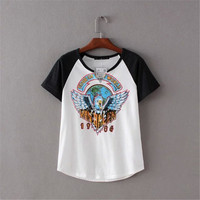 SIMPLE - Popular Fashionable Summer Beach Holiday Cotton Floral Mixed Color Alphabets Words T-shirt b2391