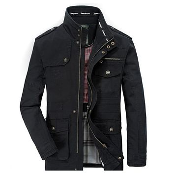 Mens Stand Collar Military Style Jacket