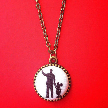 "Handmade ""Walt & Mickey"" Mickey Mouse and Walt Disney Inspired Fabric Button Necklace in Bronze Setting"