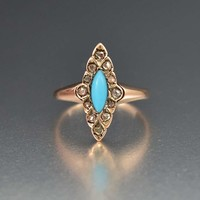 Stunning Georgian Turquoise and Diamond Ring 1800s