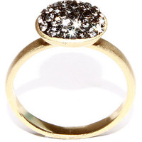 ATHRA LUXE JEWELRY-14k Gold over Sterling Silver Sparkly and Stackable Oval Black Crystal Ring