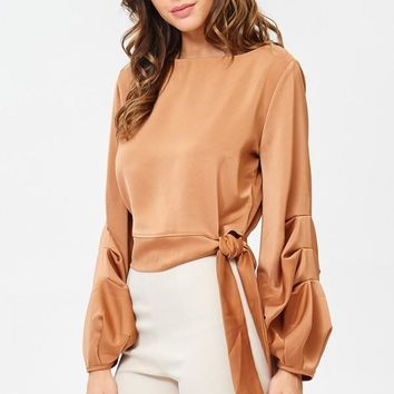 Tan Boat Neck Satin Blouse with Tie Waist
