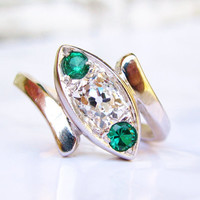 Antique Engagement Ring Old Mine Cut Diamond Trilogy Bypass Ring 14K White Gold Emerald Green Colored Stones Art Deco Diamond Wedding Ring!