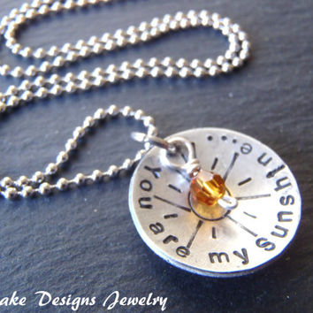 you are my sunshine necklace with Swarovski crystal