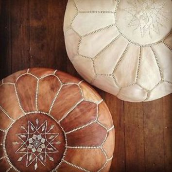 Set Of 2 Moroccan Pouf (unstuffed) High Leather Quality MOROCCAN OTTOMAN LEATHER