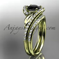 14k yellow gold diamond leaf and vine wedding ring, engagement set with a Black Diamond center stone ADLR317S