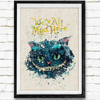 Cheshire Cat, Alice's Adventures in Wonderland, Disney Watercolor Art Poster Print, Kids Room Decor, Not Framed, Buy 2 Get 1 Free!