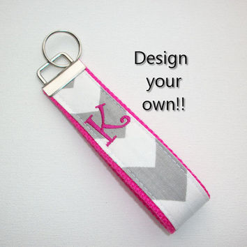 Key FOB / KeyChain / Wristlet  - inital monogram on your choice of chevron preppy -  custom design your own