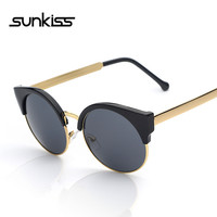 SUNKISS Fashion Retro Designer Vintage Round Circle Glasses CatEye Semi-Rimless 2016 Women Sunglasses Luxury Brand Mens Eyewear