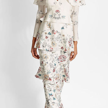 Printed Silk Floor Length Dress - Vilshenko | WOMEN | US STYLEBOP.COM