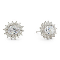 Sterling Silver Oval Cubic Zirconia Halo Stud Earrings - Stud - T.J.Maxx
