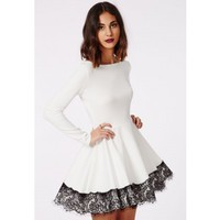 Kaley Lace Hem Skater Dress - Skater Dresses - Missguided