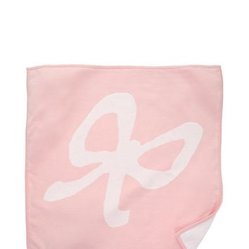 Kate Spade Layette Intarsia Bow Blanket White / Balloon Pink ONE