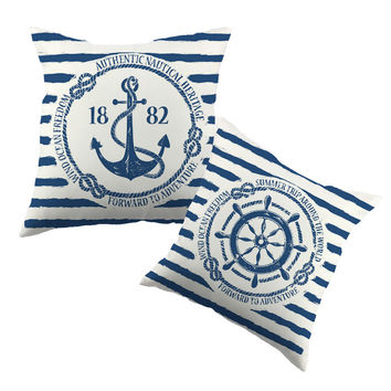 Sea Blue Helm Printed Cushion Cover Anchor Pattern Marine Cottom Throw Pillow Case New Year Decorative Pillowcase