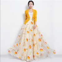 Organza Orange Sunflower Floral Full Pleated Skirt Long Maxi Beige A-line Dress Bohemian Wedding Bridesmaid Prom Ball Gown Party Flowy Event