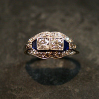 Art Deco Diamond & Sapphire Ring by Ruby Gray's | Ruby Gray's Antique & Vintage Rings