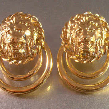 Lion Head Door Knocker Earrings, Adjustable Clip On, Hinged, Highly Gilded