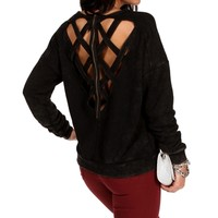 Black Lattice Zipper Back Sweatshirt Top