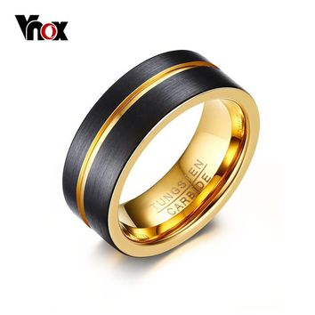 Vnox Thin Gold-color Line Ring for Men Jewelry 8MM Black Tungsten Carbide Ring