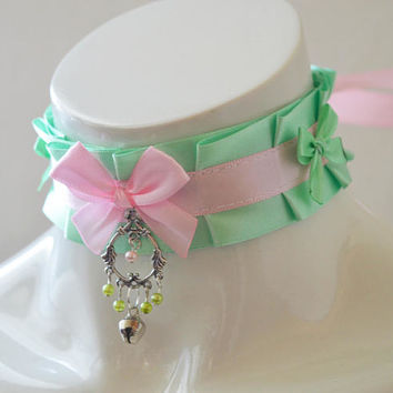 Kitten play collar - Mint princess - ddlg little girl lolita choker - kawaii cute fairy kei harajuku pastel pink and light green with bell