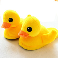 Women Men Cute Animal Yellow Duck Slipper Shoes Soft Winter Warm Home House Floor Slippers Lover Mens Womens Household Pantufas