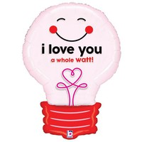 "I Love You A Watt"" 29 Light Bulb Shaped Helium Balloon"