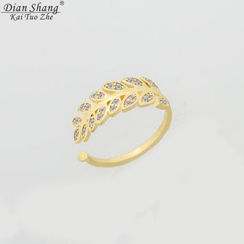 DIANSHANGKAITUOZHE Minimalist Anel Gold Colour Toe Rings CZ Leaf  Ring For Women Masonic Jewelry Anelli Donna Bridesmaid Gift