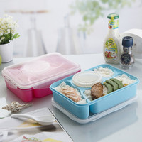Hot 4+1 Lunch Box Fully Sealed Food Container 4-Compartments Bento Box Soup Bowl With Plastic Scoop Pratos Microwave Meal  tools