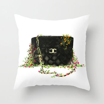 Black Chanel bag Throw Pillow -  Home Decor