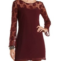 Lace & Chiffon Bell Sleeve Shift Dress by Charlotte Russe - Red
