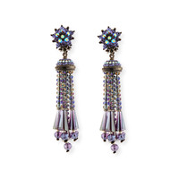 Beaded Tassel Drop Earrings, Gunmetal - Jose & Maria Barrera
