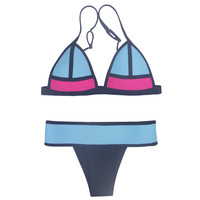 Blue and Black Color Block Triangle Bikini