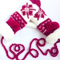 Christmas Pattern Red White Gloves
