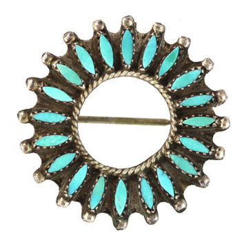 Vintage Zuni Sterling Silver Needlepoint Turquoise Pendant/Pin